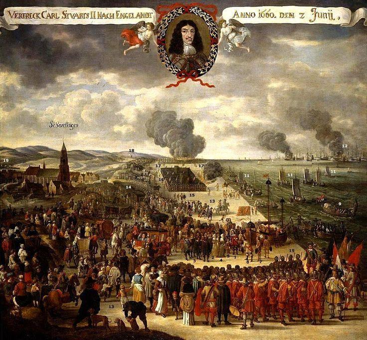 Vertrek koning Charles II van Engeland op 2 juni 1660. (Coll. Royalcollection.com)