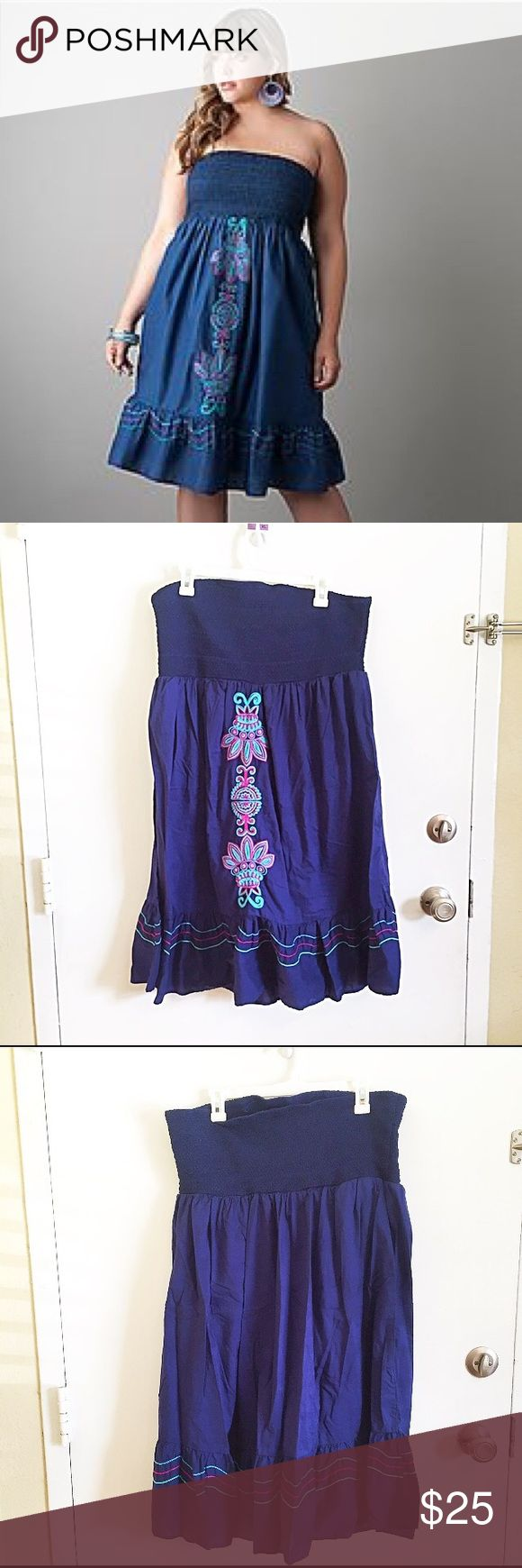 Lane Bryant Strapless Embroidered Dress Plus size blue strapless Embroidered dress from Lane Bryant. Size 18/20. #plus #plussize #blue #strapless #embroidered #dress #lanebryant #tropical #aztec #beachy #vacay #flattering #punkydoodle  No modeling Smoke and pet free home I do discount bundles Lane Bryant Dresses Strapless