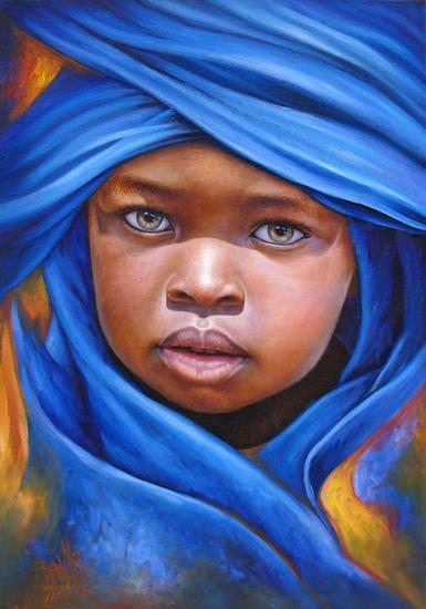 """Niño de África"".  Artist: Dora Alis.  Óleo sobre lienzo, 35 x 50 cm,  2013."