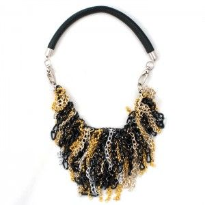 The interesting necklace made of several kinds of chains in black, silver and light gold. Hanging on leather thick strap.    Clangs of course!
