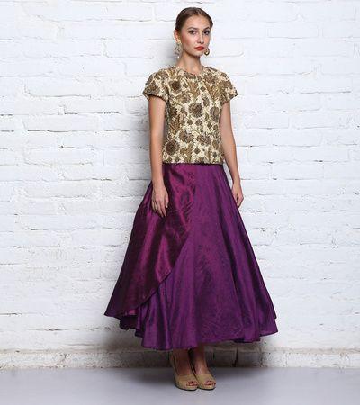 cream blouse, zardosi work, floral embroidery, purple skirt, silk skirt, flared skirt