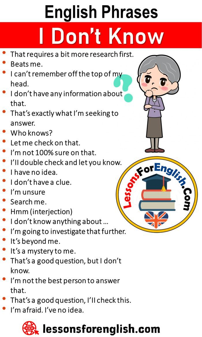 English Phrases I Don T Know Lessons For English English Phrases English Vocabulary Words Learn English Words