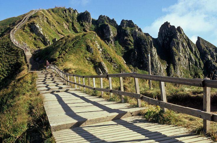 volcano, mountain, path, sunny day