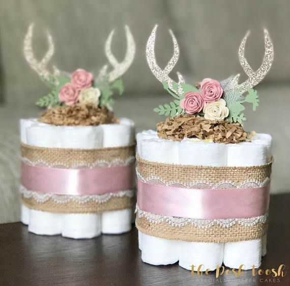 Floral Antler Diaper Cake, Deer Woodland Antler Feather Baby Shower Decor Centerpiece Present, Boho Rustic Pink Girl, ONE Mini 1 tier