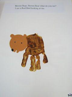 Cute Preschool Ideas For 2 Year Olds: Brown Bear Hand Print Book