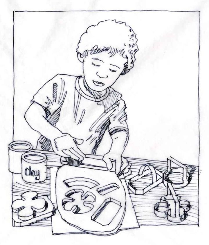 Storyboard sketch for the introduction of a children's craft and hobby product line for a major US chain store.