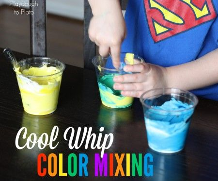 Such a fun, tasty way to learn colors!! Cool Whip Color Mixing.