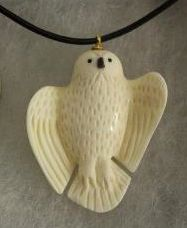 Inuit made ivory owl necklace by Daniel Annanack
