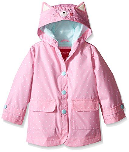 If your daughter LOVES kitties like my daughter does, then she will adore this rain slicker.  This London Fog Girls' Enhanced Radiance Kitty Cat Rain Slicker features a kitty CAT face on the hood with ears.  This jacket has snap closures in the front and has two front pockets.  It is lightweight and waterproof.
