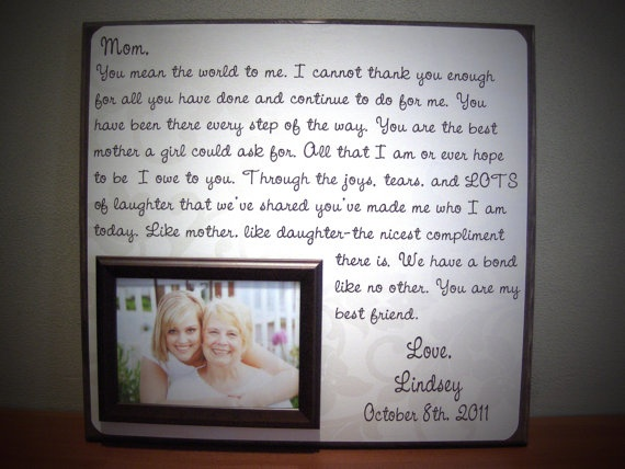perfect mother of the bride present. to let her know ill always be her baby girl