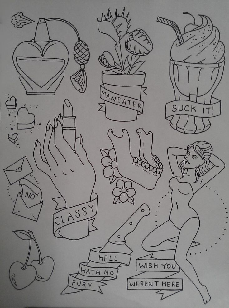 "lalalafrickyou: "" the-tattooed-lady: "" Been working on this sassy little flash sheet today. Come get it tattooed! "" I NEED THE VENUS FLY TRAP ON MEEEEEEE """