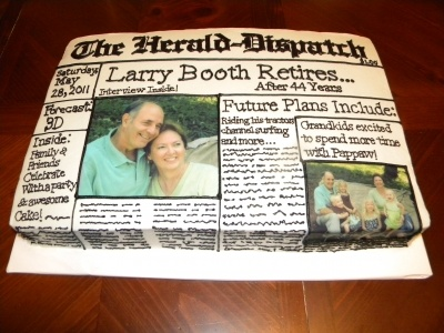 Newspaper Retirement Cake By lilmansmum on CakeCentral.com