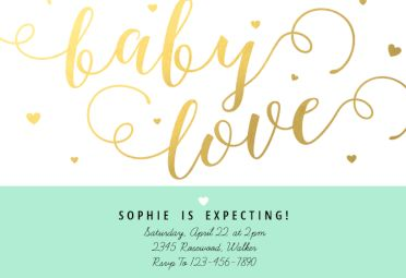 Baby Love printable invitation template. Customize, add text and photos.  Print, download, send online or order printed!