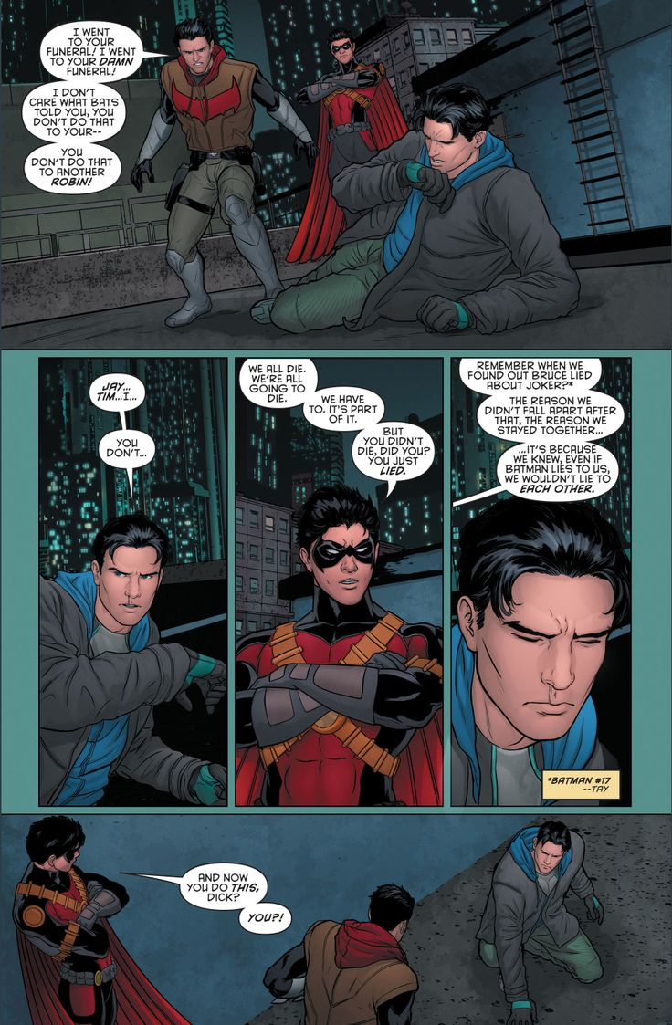 red hood and red robin's reaction to grayson's fake death 2