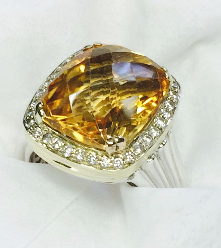 Charles Krypell 12.0 CTW Faceted Citrine and Diamond Halo Ring Gold & Silver #CharlesKrypell #Halo #MothersDay