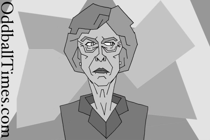 A caricature of Theresa May drawn with a Cubist influence used to illustrate a satirical article about her #theresamay