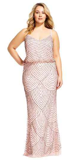Adrianna Papell | Art deco blouson beaded gown, shop this dress in plus size and petite, too!