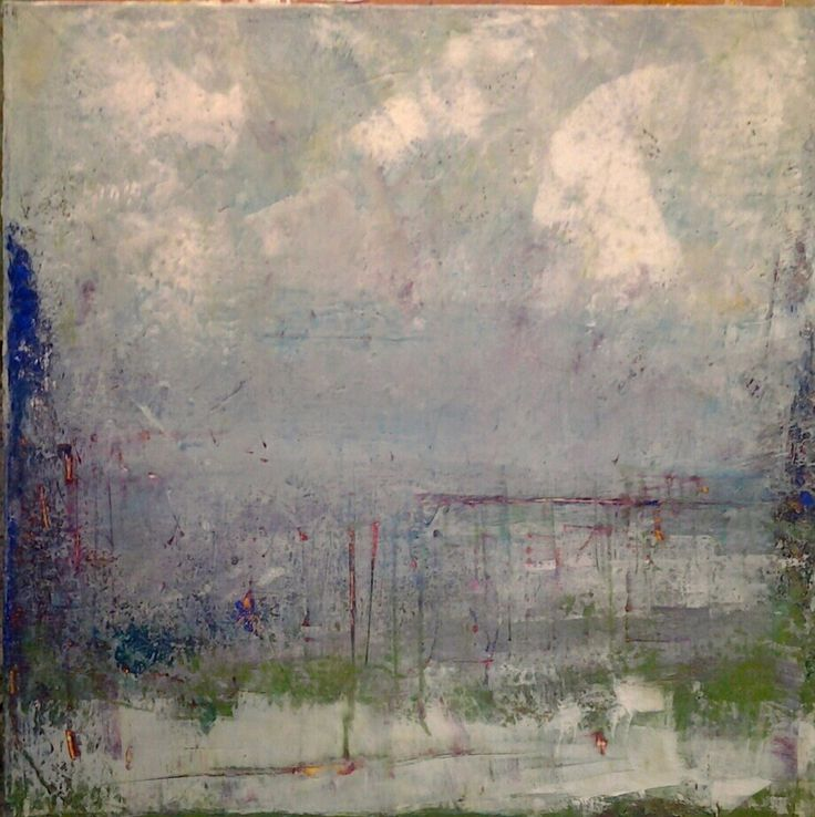 liz doyle 'here' oil and wax on canvas 80cm sq