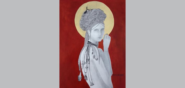 Mantis and the Moon - gesso on wood , oils, pen & ink pencil and goldleaf - SOLD