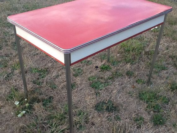 Red Table Formica Top 1950 Chrome Wood