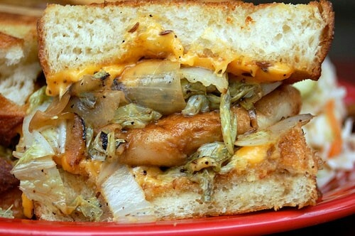 Parmageddon from Melt Bar and Grilled in Lakewood Ohio. A grilled cheese sandwich with pierogies on it!