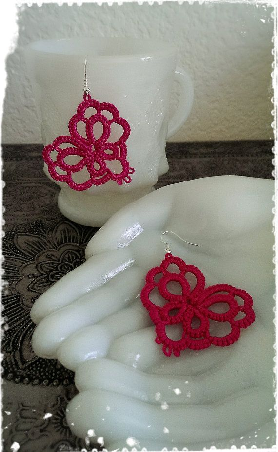Tatting Lace Earrings Needle Tatted Heart от CandiedCherrybyKC