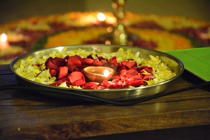 #Beautiful #Dish #Arranged with  #Petals and #Diwali oil lamp