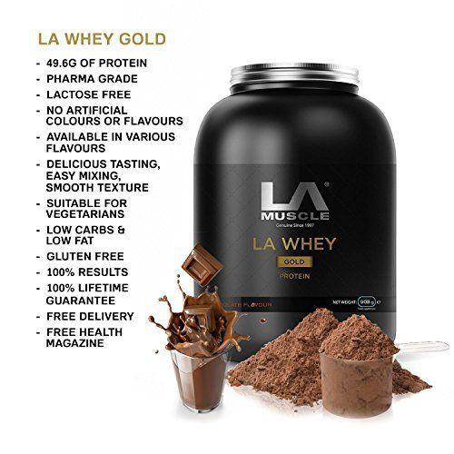 PURE WHEY PROTEIN - 100% de protéines de lactosérum de prime pure. Naturel, protéine à action rapide ~ enrichi avec PHARMA grade Protein LOW ULTRA en gras et en sucre - 100% NATUREL - Pas de colorants artificiels ou édulcorants, LA Whey Gold contient Stevia, au lieu de sucralose comme la plupart des autres marques HYPERPROTIDIQUE - 49.6g de lactosérum par portion rend LA Whey Gold l'un des meilleurs shakes de protéines disponibles aujourd'hui