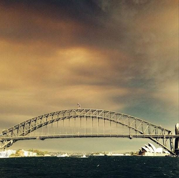 18/10/13 smoke over Sydney from the current bush fires.  We're thinking of all the fire fighters and communities fighting for their homes in the Blue Mountains