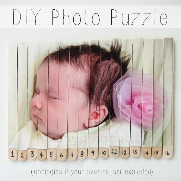 DIY Magnetic Photo Puzzle - to add a bit of adorable to your fridge! Plus it works on fine motor skills for toddlers, early maths concepts for preschoolers, and can be extended to more complicated maths for school aged kids. #math #ece ~ Danya Banya
