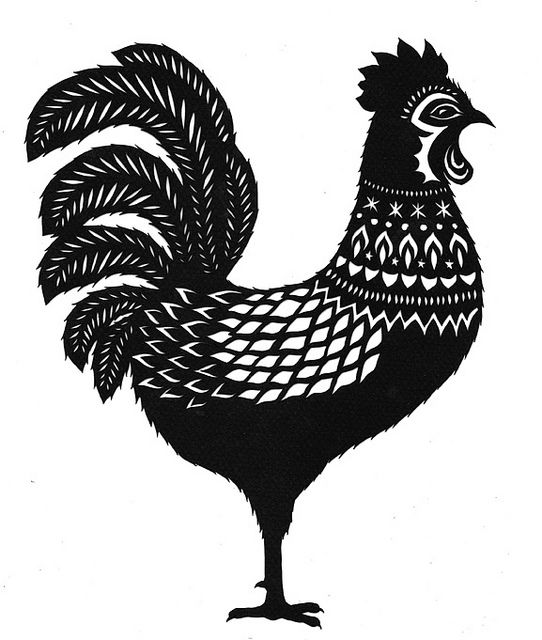 Rooster -- Cut Paper Art  www.ruralpearl.com