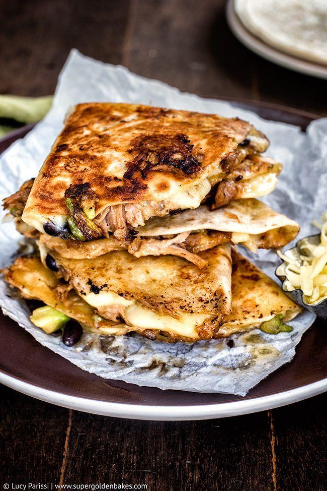 Cheesy Pulled Pork, Black Bean & Avocado Quesadillas | Supergolden Bakes