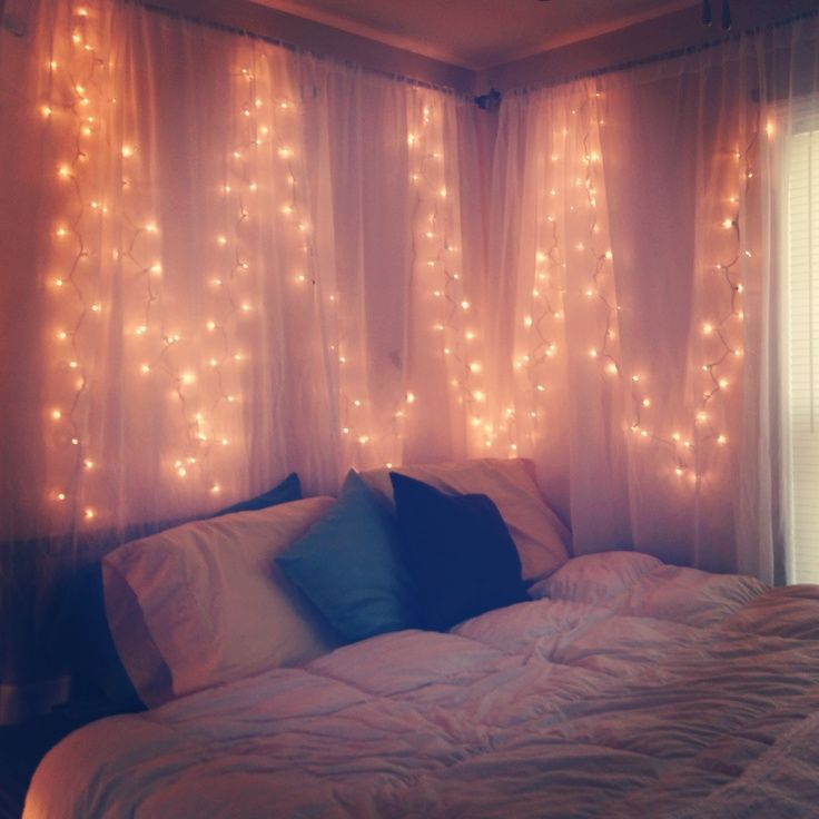 lights behind sheer curtain in Bedroom
