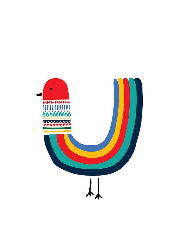Rainbow Bird Art Print Animal Illustration Drawing by dekanimal