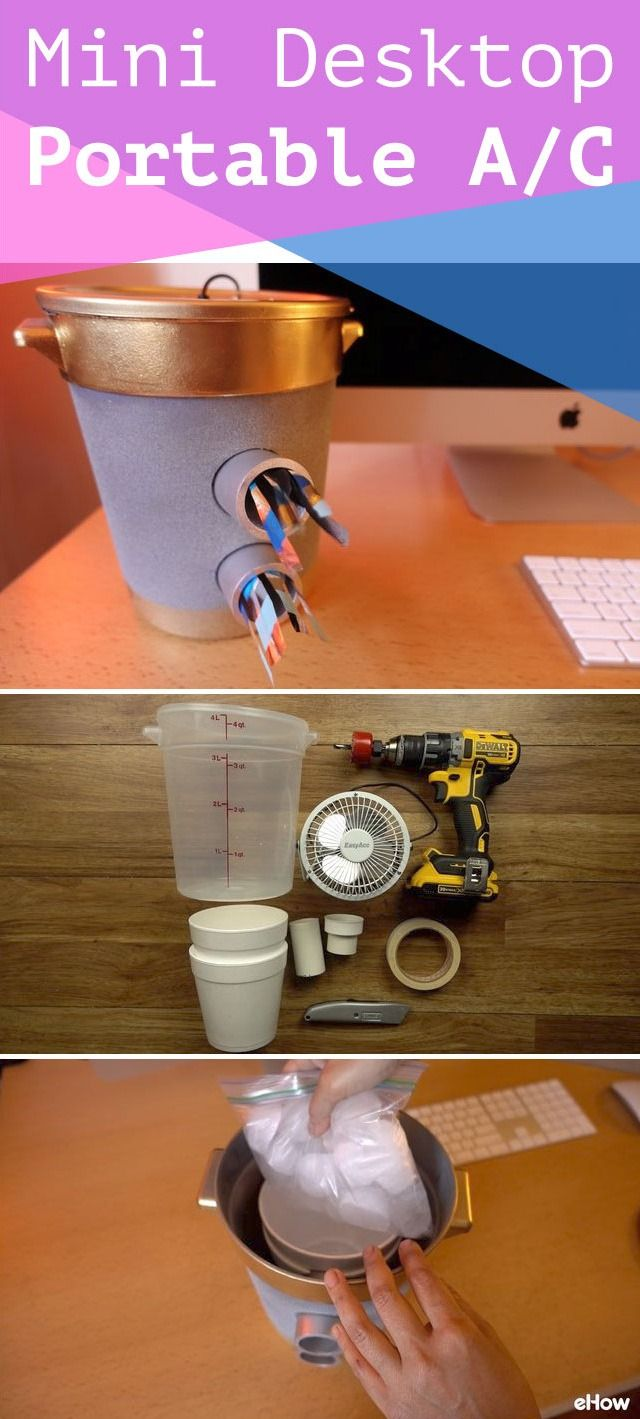 No AC? No problem! This portable mini desktop ac is easy to make and perfect for your bedside or home office! DIY instructions here: http://www.ehow.com/how_12343913_diy-mini-desktop-air-conditioner-keep-cool.html?utm_source=pinterest.com&utm_medium=referral&utm_content=freestyle&utm_campaign=fanpage