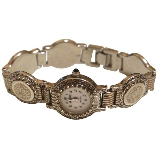 Pre-owned Watch (120 KWD) ❤ liked on Polyvore featuring jewelry, watches, silvery, versace wrist watch, preowned watches, versace watches, pre owned watches and vintage watches