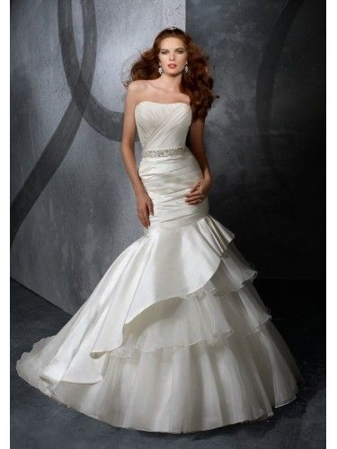 Taffeta Strapless Ruched Bodice Mermaid Wedding Dress