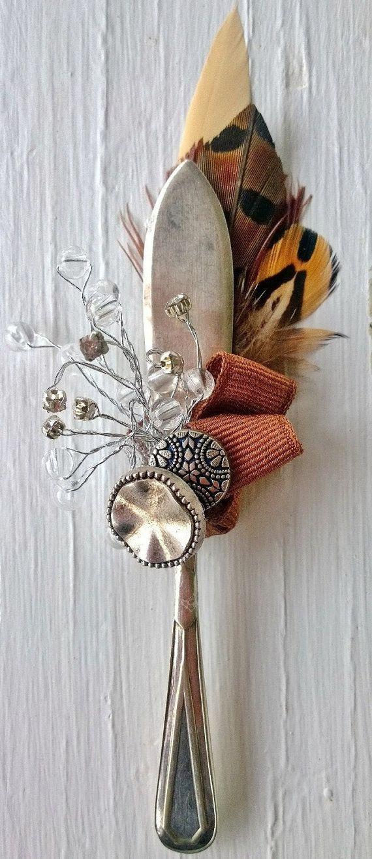 Men's vintage Silver Pâté Knife & Crystals by MeadowMenagerie