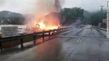 Burning House Seen Floating Away in West Virginia Flood   CNN Video of 2016 flood