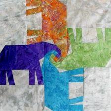 Elephants Around Block. paper piecing patterns