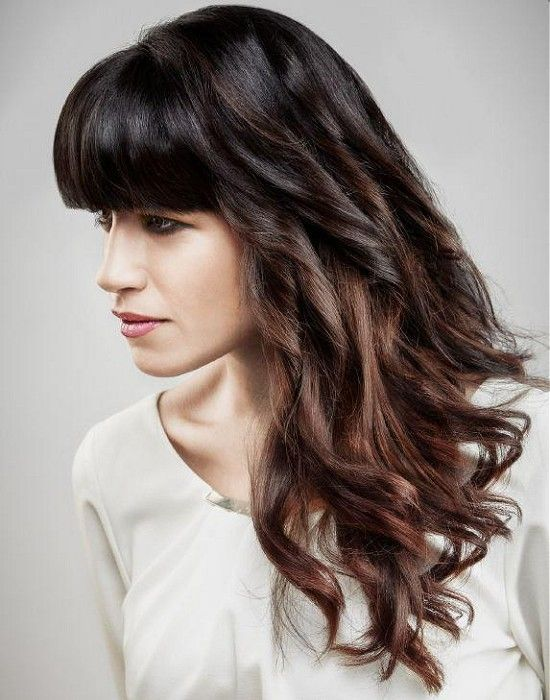long brown straight wavy spirals multi-tonal defined-fringe womens hairstyles fo