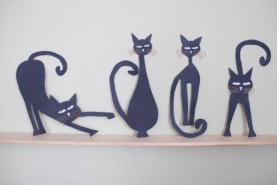 Black cat wall decor : Art metal wall sculpture decor black cats set of by