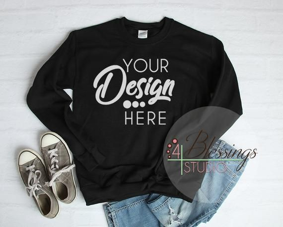 Download Black Sweatshirt Mockup Unisex Gildan 18000 Black Flat Lay Etsy Shirt Mockup Clothing Mockup Free Packaging Mockup