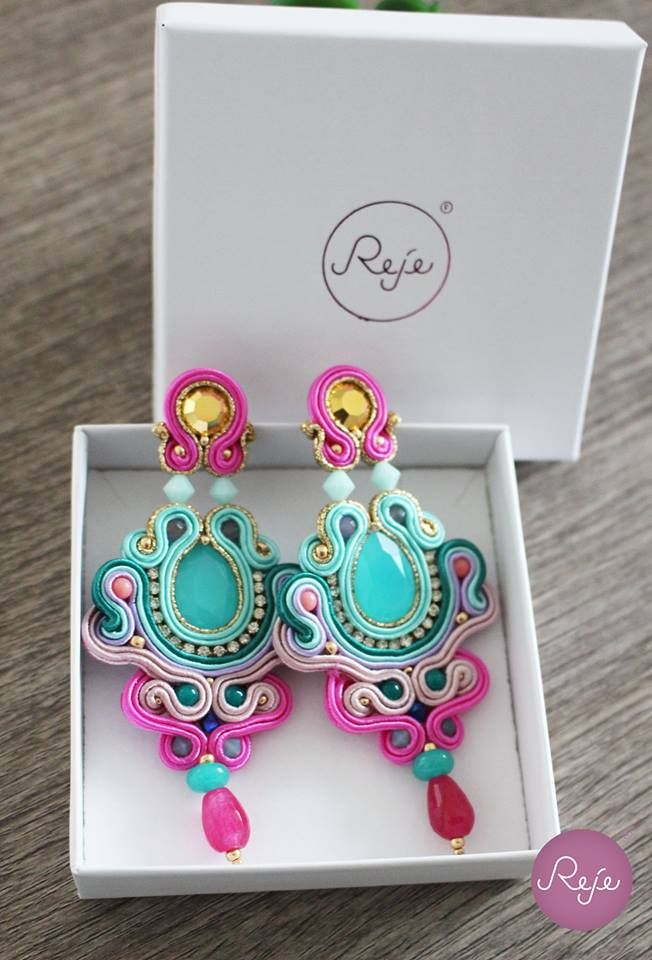 Soutache jewelry, soutache earrings, chandelier earrings, colorful earrings…