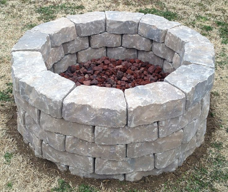 Backyard fire pit built in three hours used 60 11 x4 for What rocks to use for fire pit