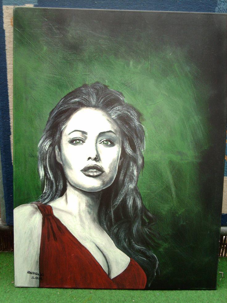 """Auf diesem Gemälde seht Ihr """"Angelina Jolie"""", bekannt aus """" TOMBRAIDER I+II""""...auch gemalt in  Acryl auf Leinwand, 60x80x2,...kg"""