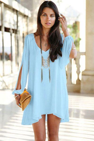 Trendy Light Blue Chiffon Leisure Jersey Her Mini Dress