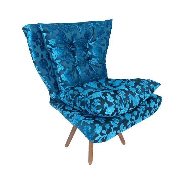 Poltrona Decorativa Ibiza Pés Palito - Tecido Gold Estampado 2 Azul Turquesa - Poltronas Home - Lojix Equipando Sua Vida