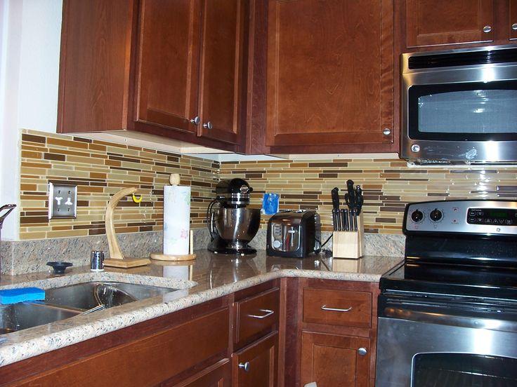 Kitchen Tile Backsplash Light Grey Counters Dark Wood   Google Search