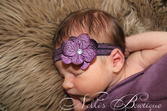 Deep Purple Rhinestone Baby Hydrangea Flower by nellisbowtique, $4.50